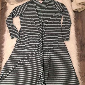 Lularoe Gray & Blue Striped Long Open Cardigan